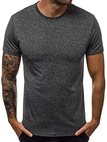 OZONEE Herren T-Shirt T Shirt Tshirt Kurzarm Kurzarmshirt Tee Top Sport Sportswear Rundhals U-Neck Rundhalsausschnitt Unifarbe Basic Einfarbig JS/S01#1 DUNKELGRAU L