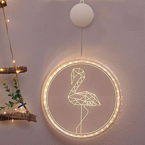 CAOLATOR Flamingo LED-beleuchtet Metallic-Silhouette Weihnachten Fensterbilder Weihnachten Leuchtend Weihnachtsfenste