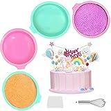GZLCEU 4 Pièces Moule à Gateau en Silicone Rond, 6 Pouces Moule de Cuisson Anti-adhésifs Moule Rainbow Cake Silicone pour Gateaux Pain Tarte