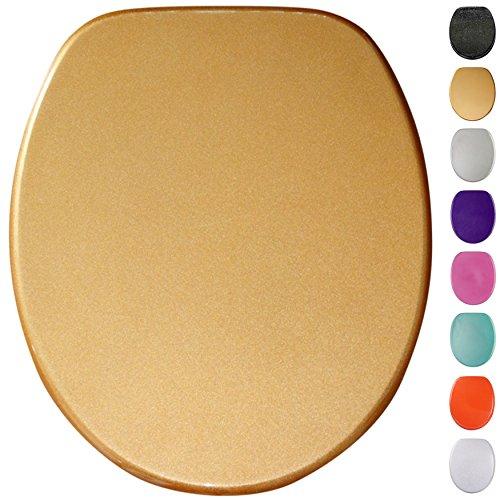 Glitzer WC Sitz mit Absenkautomatik, viele schöne Glitzer WC Sitze zur Auswahl, hochwertige und stabile Qualität aus Holz (Gold)