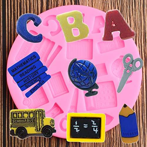 YUIOP 3D Libro Tijera Coche Regla Escuela bolígrafo Silicona Molde azúcar artesanía Fondant Chocolate moldes Herramientas de decoración de Pasteles moldes para Hornear