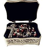 elegantmedical Bali 925 Sterling Silver Beads 8MM Tiger Eye Rosary Cross Catholic Necklace Box