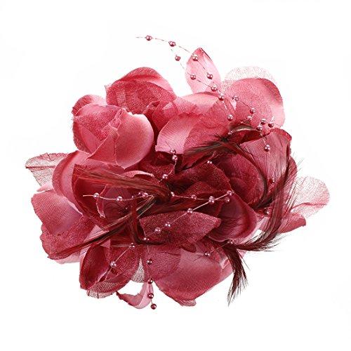 SODIAL(R) Pin Broche Pluma Tela Forma de Flores Borgona para Mujer Chica