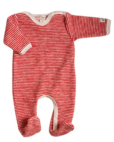 Lilano, Fleece Flausch Overall mit Fuß, 100% Wolle (kbT) (50, Rot/Natur)