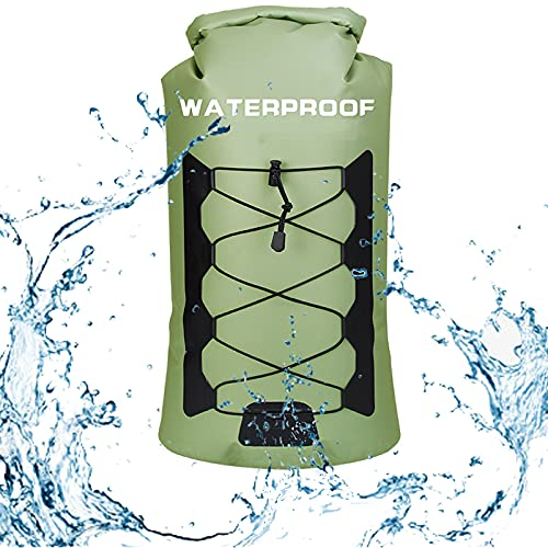 MZEHRAY Dry Bag Impermeabile,30L Zaino Idratazione Leggero Borsa per L'acqua Rotolo con Tracolla Lunga Regolabile Uomo Donna per Canottaggio Kayak Pesca Rafting Nuoto Campeggio Snowboard,Green