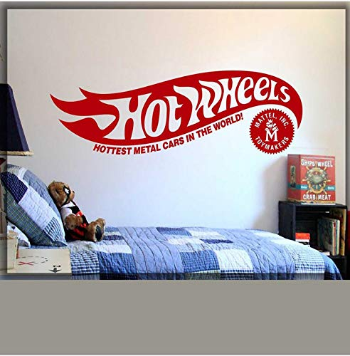 wheels logo vinyl wall decal room home art decor wall decor hot and wheels original decal logo room bedroom decor stickers 124x42cm
