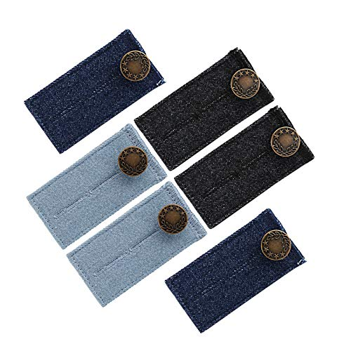 Naler 6pcs Button Extender Elastic Waist Extender with Metal Button for Jean Pants Trousers Shirts