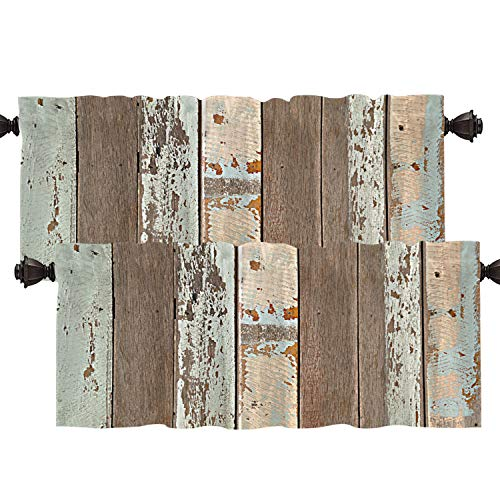Batmerry Rustic Wood Kitchen Valances Half Window Curtain, Brown Wooden Blue Wood Plank Wall Board Panel Kitchen Valances for Windows Heat Insulated Valance for Decor Reducing The Light 52x18 Inch