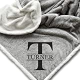 Personalized Name Blanket | Monogrammed Sherpa Throw | Custom Gift for Couple | Housewarming - 50x60'