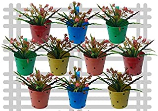 Railing Planter Impex Metal Round Dotted Planter Multicolor (Pack of 10)