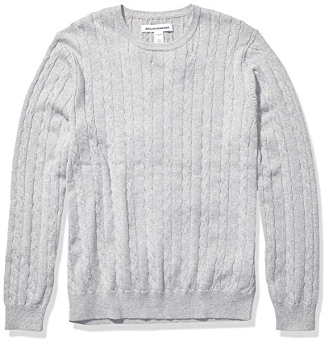 Amazon Essentials Men's Crewneck Cable Cotton Sweater, Light Grey Heather, Medium
