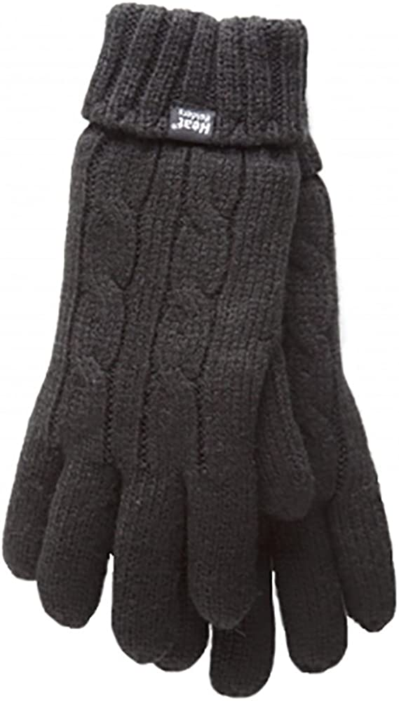 Heat Holders - Women's Thermal Heat Weaver Cable Knit 2.3 Tog Gloves - S/m (Small/Medium, Black)