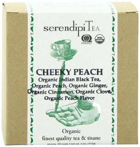 SerendipiTea Cheeky Peach, Organic Peach, Cinnamon, Clove, Ginger & Indian Black Tea, 4 Ounce Box