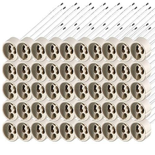 FactorLED ¡OFERTA! Pack 50 piezas casquillo para Bombillas GU10, 50 unidades zocalo cerámica con cable silicona de calidad, conector LED GU-10, caja 50 bases portalámparas