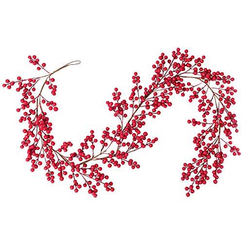 YQing Künstliche Rote Beerengirlande, 165 cm Rote Beerengirlande Burgunder Beerengirlande für Weihnachtsdekoration