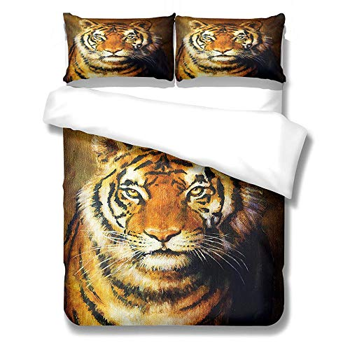 3D Duvet Cover Set for Double Size Bed Animal tiger Printed Bedding Sets Super Soft Bedroom Microfiber Duvet Set Quilt Case with Pillowcases 140x200cm