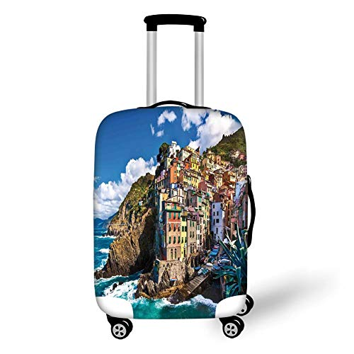 Travel Luggage Cover Suitcase Protector,Farm House Decor,Italian Mediterranean House by Cliffs Dramatic Weather Sea Cinque Terre Print,Multi,for Travel S