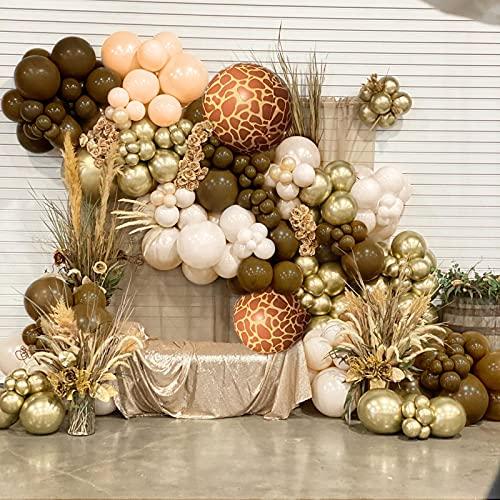 Ballon Arche Ballon Guirlande Kit, Jungle Décorations Anniversaire, Kit Arche Ballon Guirlande Marron Café pour Anniversaire Enfant Garcon Mariage Baptême Baby Shower Remise Diplômes Mariage