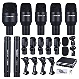 ammoon TAKSTAR DMS-7AS Wired Microphone Mic Kit for Drum Set with Standard Mounting Thread Carrying Case 1 Big Drum Microphone 4 Small Drum Microphones 2 Condenser Microphones (Type 2)