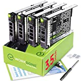 WORKDONE 4-Pack - 3.5 inch Hard Drive Caddy - Compatible for Dell PowerEdge Servers - with Detailed Installation Manual - Sled Front Sticker Labels - Screwdriver- Added Tray Screws