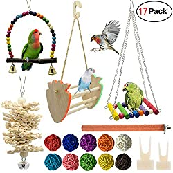WEIYU17 Package Bird Parrot Swing, chew, Ring Tone and Other Toys - Wall Clock cage Toys Suitable for Parrot, Small Bird, Cornell, Bird, Parrot, Love Bird