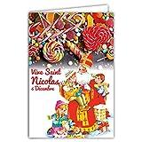 68-1103-B Carte Bonne Fête de Saint Nicolas 6 Décembre Enfants Sages Jouets Bonbons Sucreries Gourmandises Friandises Mitre Traditionnel