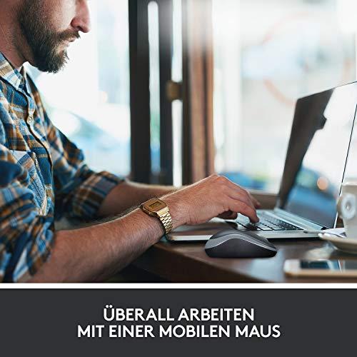 Logitech M185 Kabellose Maus, 2.4 GHz Verbindung via Nano-USB-Empfänger, 1000 DPI Optischer Sensor, 12-Monate Akkulaufzeit, Für Links- und Rechtshänder, PC/Mac – Grau - 4