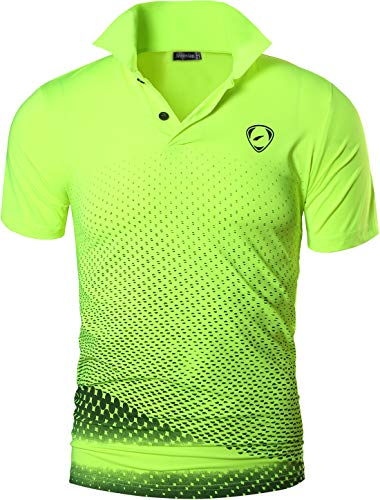 jeansian Hombres Verano Deportes Wicking Transpirable Quick Dry Short Sleeve Polo T-Shirts Tops Running Training tee LSL195 GreenYellow M