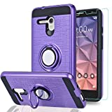 Alcatel OneTouch Fierce XL/Pop 3 5.5'/ Flint/Pixi Glory 4G LTE Case with HD Phone Screen Protector,Ymhxcy 360 Degree Rotating Ring & Bracket Dual Layer Resistant Back Cover for 5054-ZH Purple