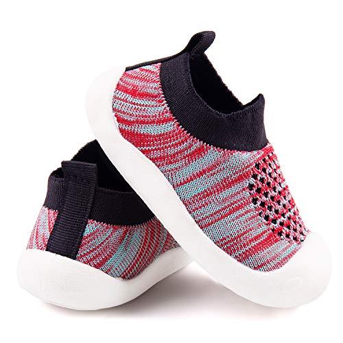Addmluck Strickschuhe für Kinder, Babyschuhe mit weicher Sohle, weich, atmungsaktiv, leicht, geeignet für 1-4 Jahre, Streifen Schwarz, 19 EU schmal