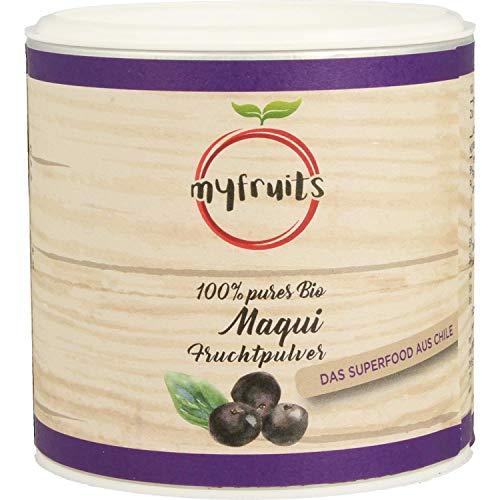 myfruits® Bio Maqui Beeren Pulver 100g, gefriergetrocknet, ohne Zusätze, dunkelviolett. Das Superfood aus Südamerika - aus 400g frischen Maqui Beeren.