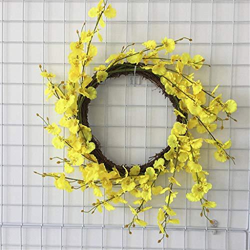 Cgration Künstliche Blumen Rosa Jasmin Kranz Frühling Kranz Outdoor für Haustür Wand Fenster Party Hochzeit Dekor