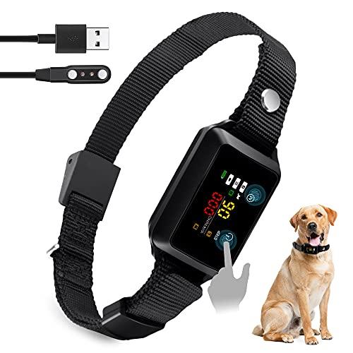 Collar Antiladridos - Collar Inteligente para Detener Ladridos, con Pantalla Táctil Vibración de Sonido, para Adiestramiento de Perros Impermeables para Perros Pequeños, Medianos y Grandes