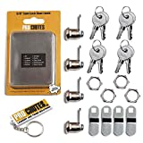 Cam Lock Door Latch with 5/8' Cylinder - Keyed Alike for RV, Trailer, Camper, Cabinet, Toolbox with Bonus Keychain - 4 Pack