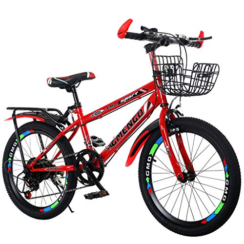 YUKM Children's Mountain Bikes, Variable Speed Bikes, High-Carbon Steel Frame with Tailstock and Basket,Red,20 inches