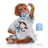 iCradle Reborn Muñecos Bebe Reborn Niña Mono Bebé 18 Pulgadas 45cm Silicona Muñeca Mono Bebe Muñeca Parece Realista Precioso Mono de Piel Juguete colección