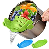 2 PACK Food Strainers Fine Mesh Strainer, Clip On Colander Rice Strain Sieve Sifter Hands-Free Heat...