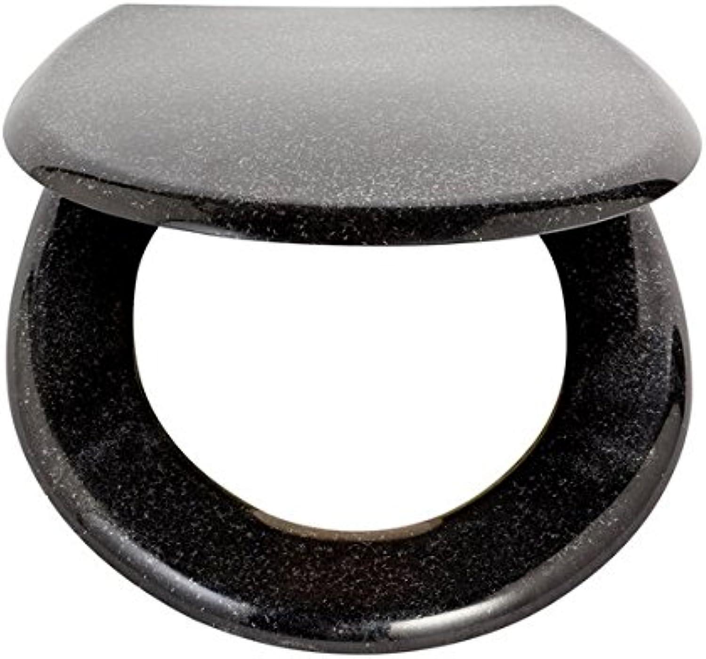 Adjustable Thermoplastic 6993018 Black Glitter Slow Close Toilet Seat