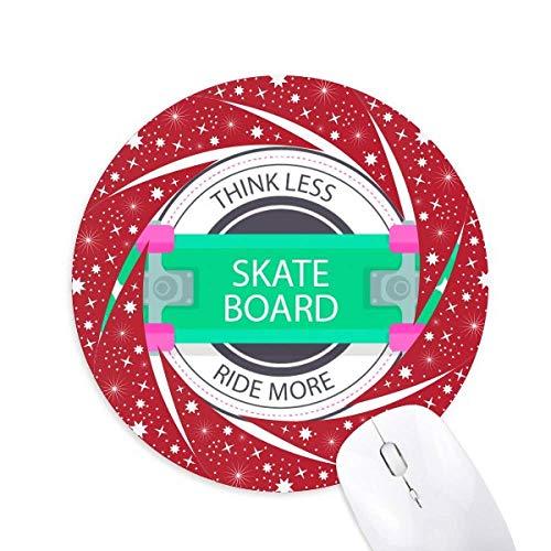 Winter Sport Skateboard Cartoon Muster Rad Maus Pad Round Red Rubber