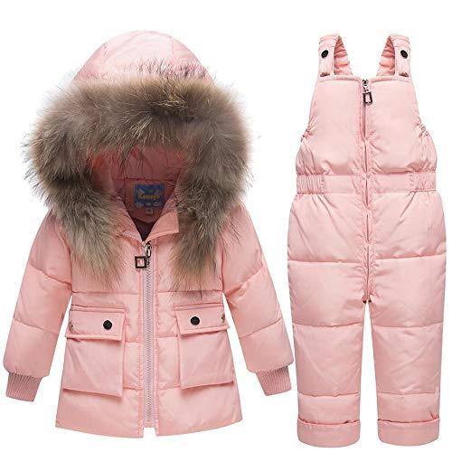 Unisexe Bébé Enfant en Bas âge d'hiver Habineige Cartoon Ski Snowpants Manteau Veste à Capuche Ensemble 2 Pièces Tenue pour 1-3 Ans Pink-Label 100/Height 95-105 cm