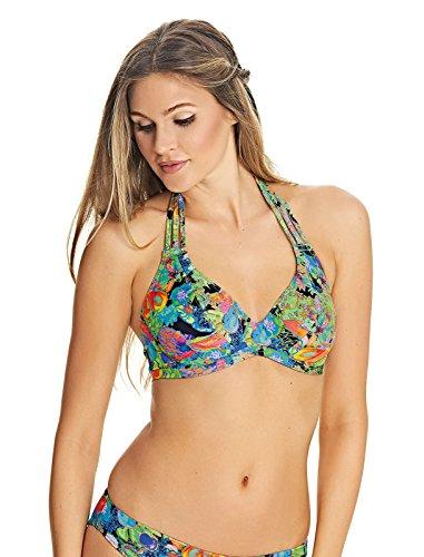Freya Island Meisje Onderdraad Gestreepte Halter Bikini Top in Tropisch (AS2980) *Maten C-GG*