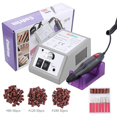 Cadrim Electric Nail Drill File Machine Manicure Pedicure Kit for Acrylic Nails Gel Nail Glazing Nail Drill Nail Art Polisher Sets with 150 Sander Bands & 6 Bits Set (20000RPM)