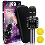 XBUTY Wireless Bluetooth Karaoke Microphone Bluetooth 5.0 with Dual Sing, LED Lights, Portable Handheld Mic Speaker Machine for iPhone/Android/PC/Outdoor/Birthday/Home/Party (Black)