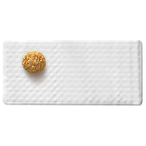 Price comparison product image iDesign Chelsea Bath Mat,  Rectangular Non Slip Mat Made from Rubber for Bathroom Floors and Shower Cubicles,  White