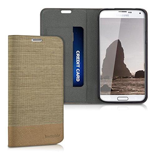 kwmobile Funda Compatible con Samsung Galaxy S5 / S5 Neo-Carcasa de Tela y Cuero sintético con Soporte en Arena/marrón