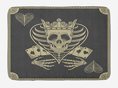 ABAKUHAUS Cráneo Tapete para Baño, Vector cráneo de póker de Las, Decorativo de Felpa Estampada con Dorso Antideslizante, 45 cm x 75 cm, Gris Oscuro Bronceado Beige
