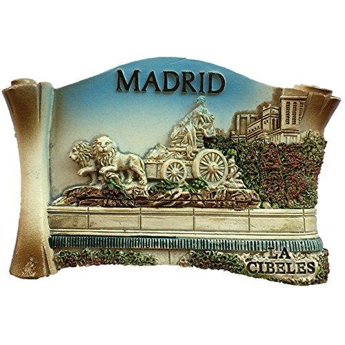 Madrid España Europa Ciudad Mundial Resina 3D Fuerte Imán de Nevera Regalo Turístico Imán Chino Hecho a Mano Artesanía Creativa Decoración de Hogar y Cocina Pegatina Magnética (Style1)