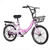 QYCloud Bicicleta Plegable, Mini Bicicleta para Adultos con Freno en V, Mini Bicicleta de montaña Plegable Ligera, Acero de Alto Carbono,Rosado