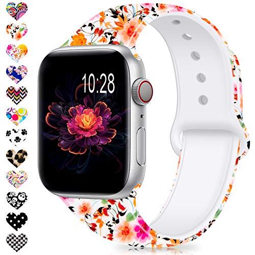 DigiHero kompatibel mit Apple Watch-Armband 38 mm 42 mm 40 mm 44 mm für Damen/Herren, Silikon farblos Muster Bedruckt Ersatz Blumen für iWatch Serie 4/3/2/1