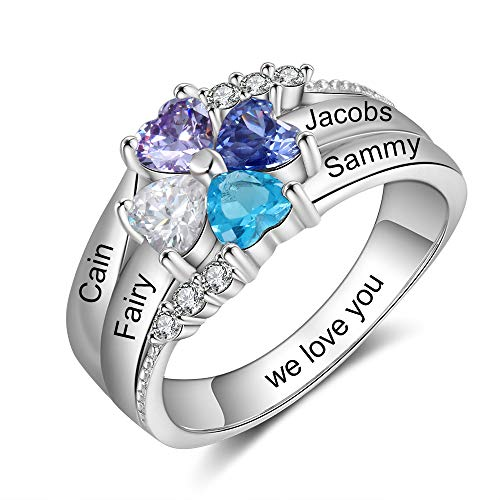 LanM Personalized Mother Rings with 4 Simulated Birthstones Rings for Women Mothers Days Rings Family Name Rings for Mom (Silver, 7)